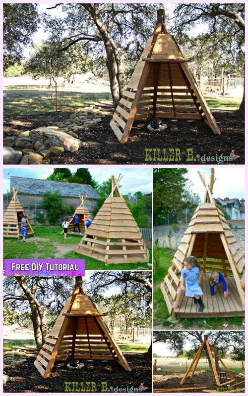 Outdoor Teepee Playhouse Diy Projects And Tutorials Diy
