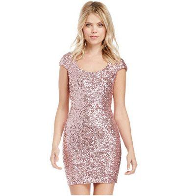 neuartiger Stil wähle authentisch tolle Passform 39,90EUR Glitzerkleid rosa mit Rückenausschnitt | Fashion ...