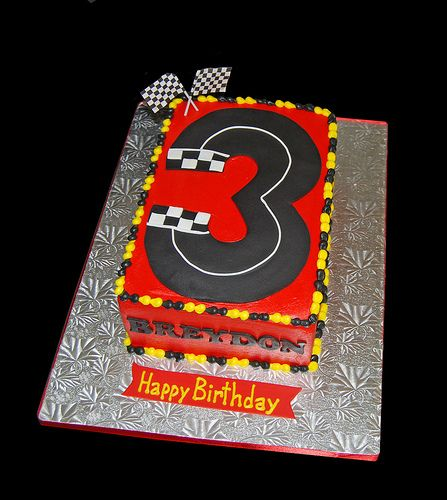 Number 3 Shaped Race Track Cake for a Race Car Themed Birthday