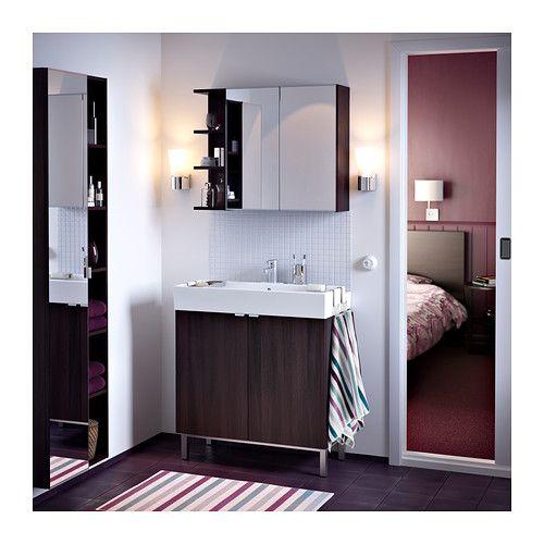Spiegelschrank mit beleuchtung ikea  LILLÅNGEN Spiegelschrank 2 Türen/1Abschlregal - schwarzbraun ...