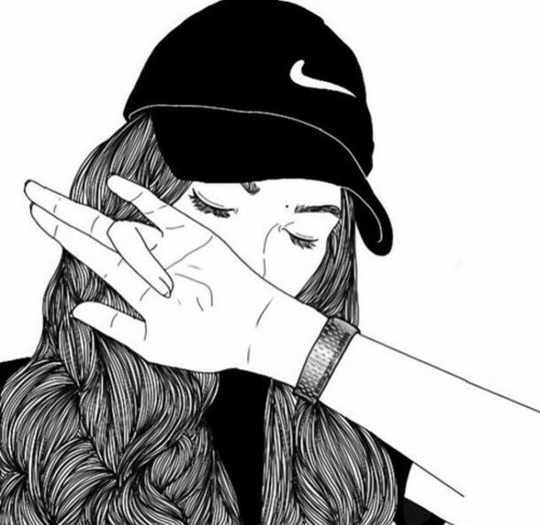 Nice drawing of gurl covering face and NIKE HAT 😄