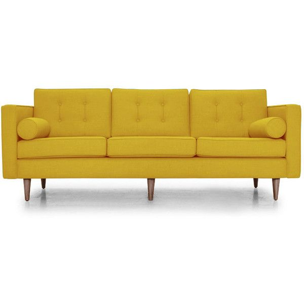 Joybird Mid Century Modern Leather Couch 4 399 Liked On Polyvore Featuring Home Furniture Sofas Yellow Midcentury Sofa