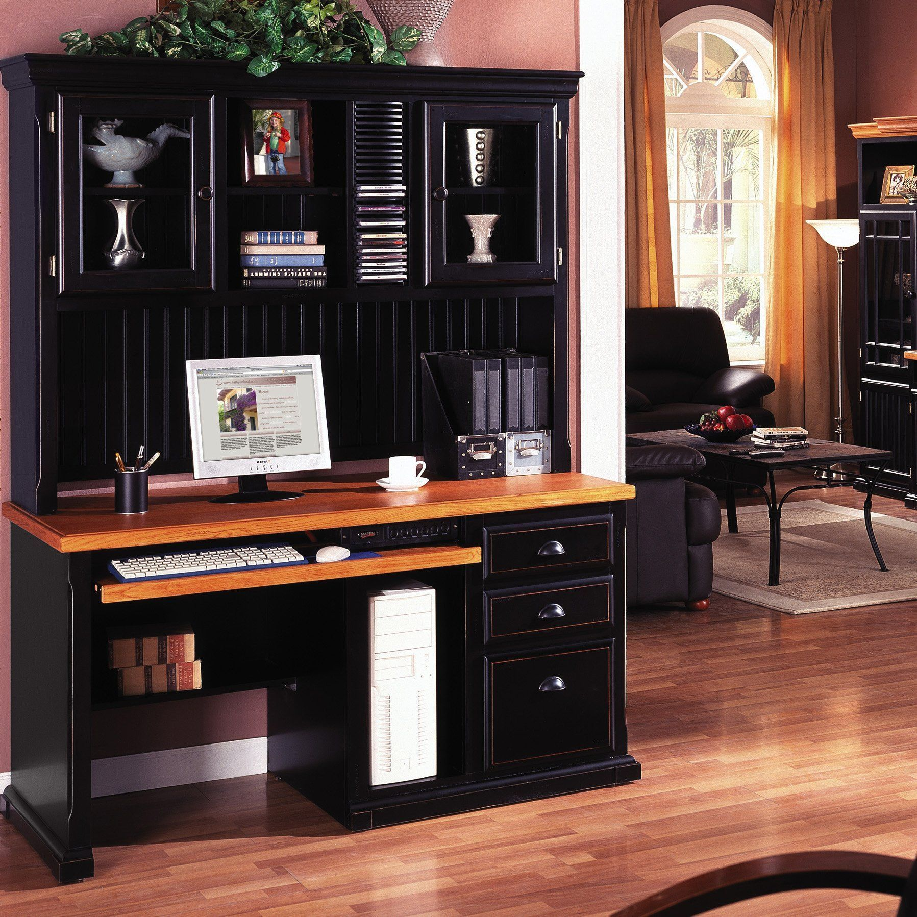 Have to have it kathy ireland home by martin southampton desk with optional hutch 849 hayneedle