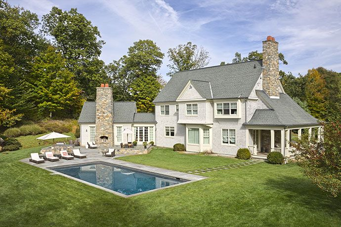 Countryside Poolscape Stamford Ct Modern Farmhouse Exterior Modern Farmhouse Porch Modern Farmhouse Interiors
