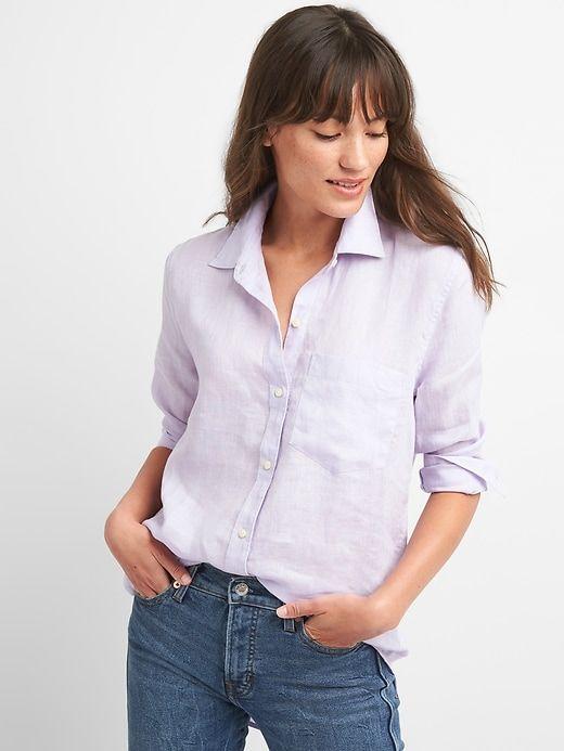 5fceb9688ff Gap Womens Oversize Boyfriend Shirt In Linen Oxford Purple
