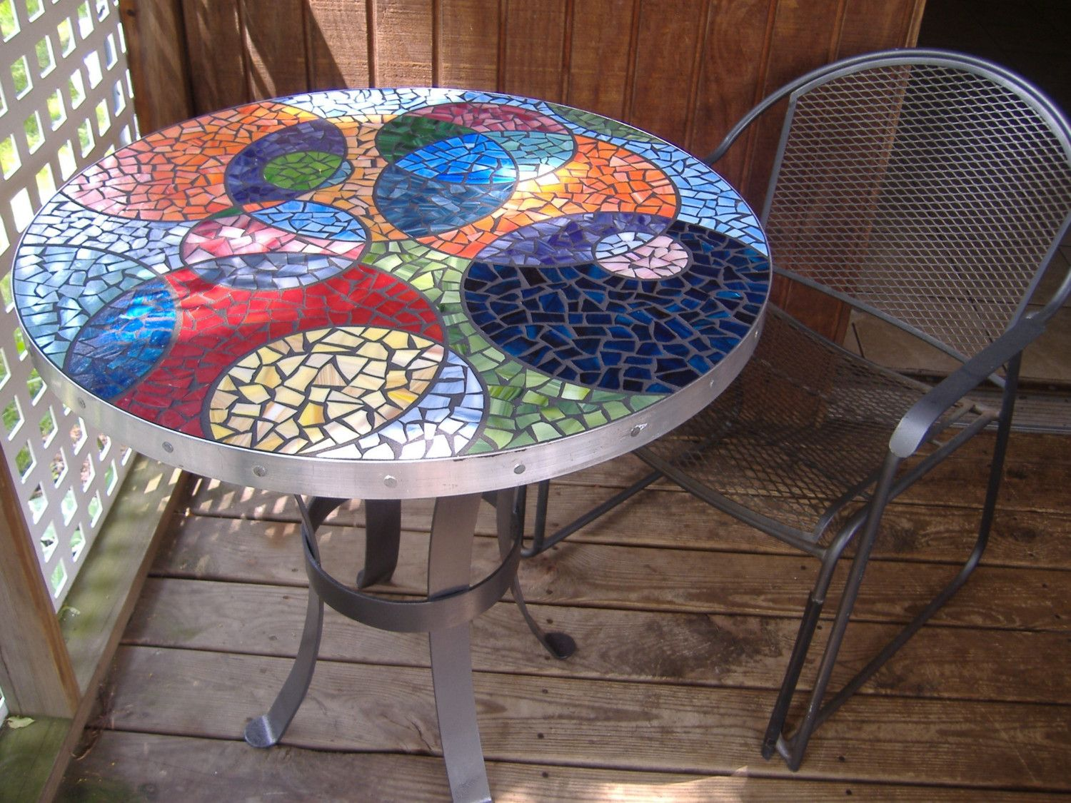 Stained Glass Mosaic Table Top Multi Color Colorful By TRWmosaics. $799.00,  Via Etsy.