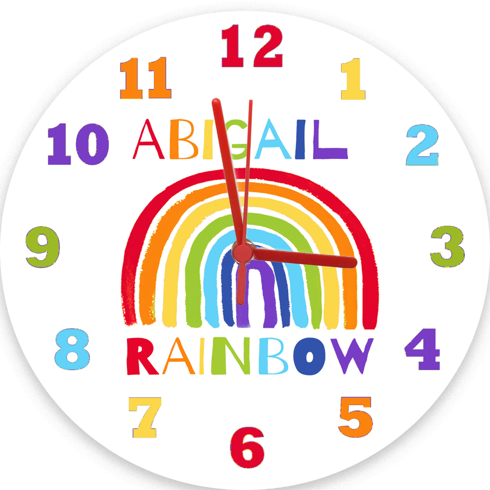 Rainbow Clock Personalised Girls Clocks Tiger Lily Prints In 2020 Rainbow New Baby Products New Baby Gifts