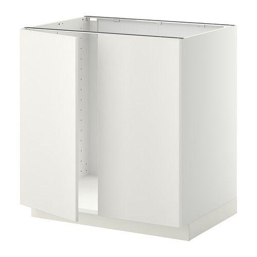METOD Mobile base per lavello + 2 ante, bianco, Veddinge bianco ...