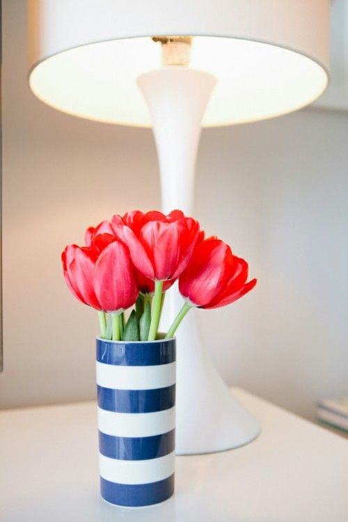 I love tulips even more when they're in a blue and white striped vase
