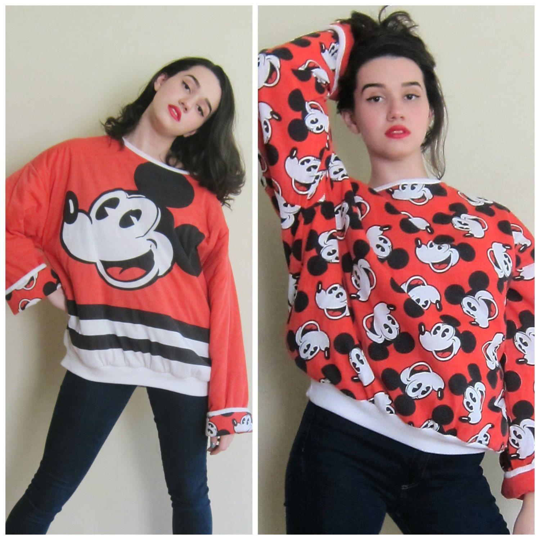 1e225faeeab5 Vintage 1980s Mickey Mouse Reversible Sweatshirt   80s Disney 50th ...
