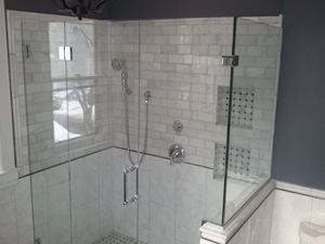 1 2 Clear Frameless Enclosure With Door Hinged Off Panel With Wall Clamps Securing Panel Chrom Frameless Shower Enclosures Shower Enclosure Frameless Shower