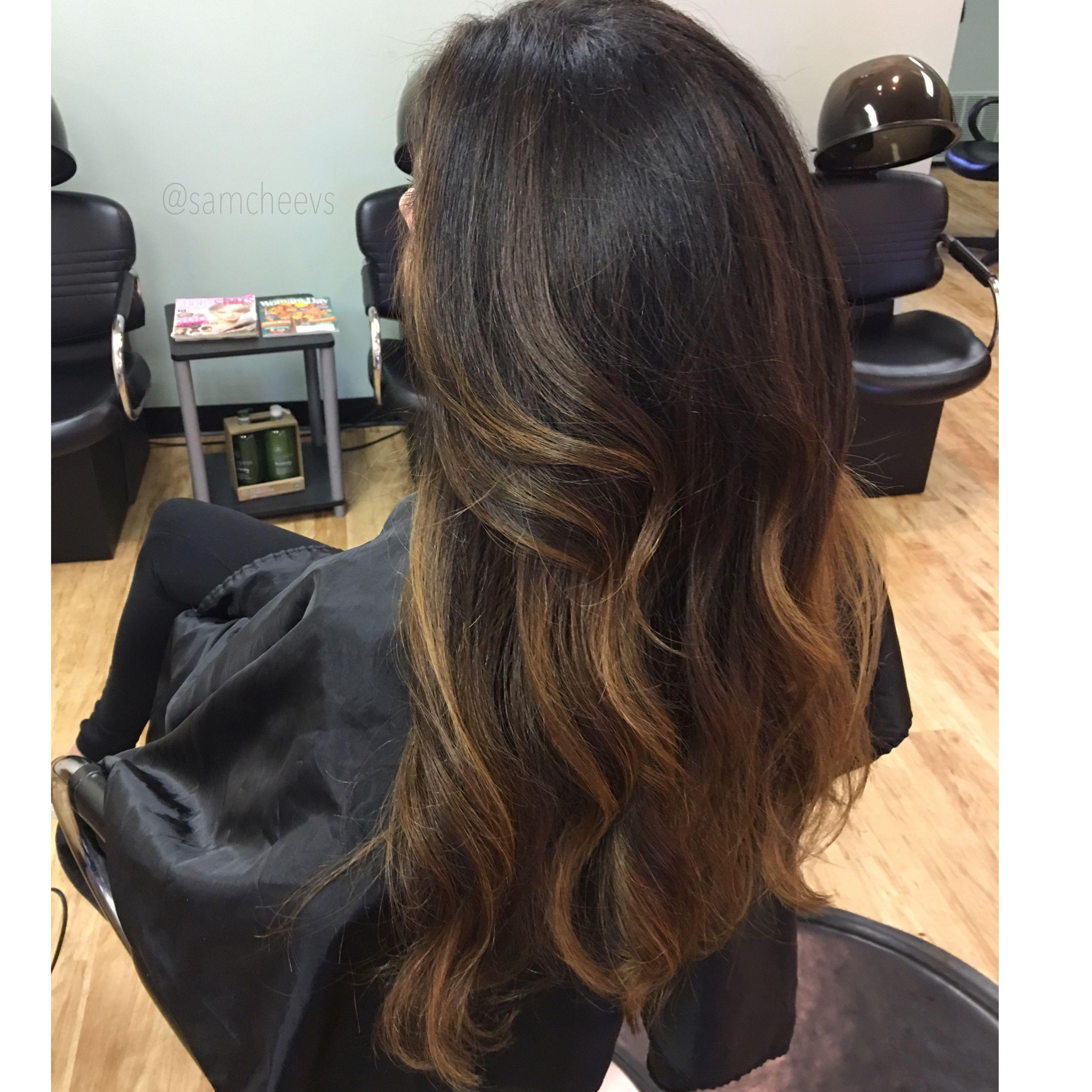 Caramel Highlights For Dark Hair Honey Balayage For Black Hair Honey Hair Black Hair Balayage Balayage Hair Caramel