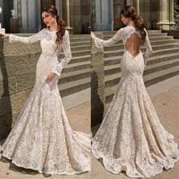 Discount Fitted Lace Wedding Dress Open Back 2017 Fitted Lace - Wedding Dresses 2017 Lace