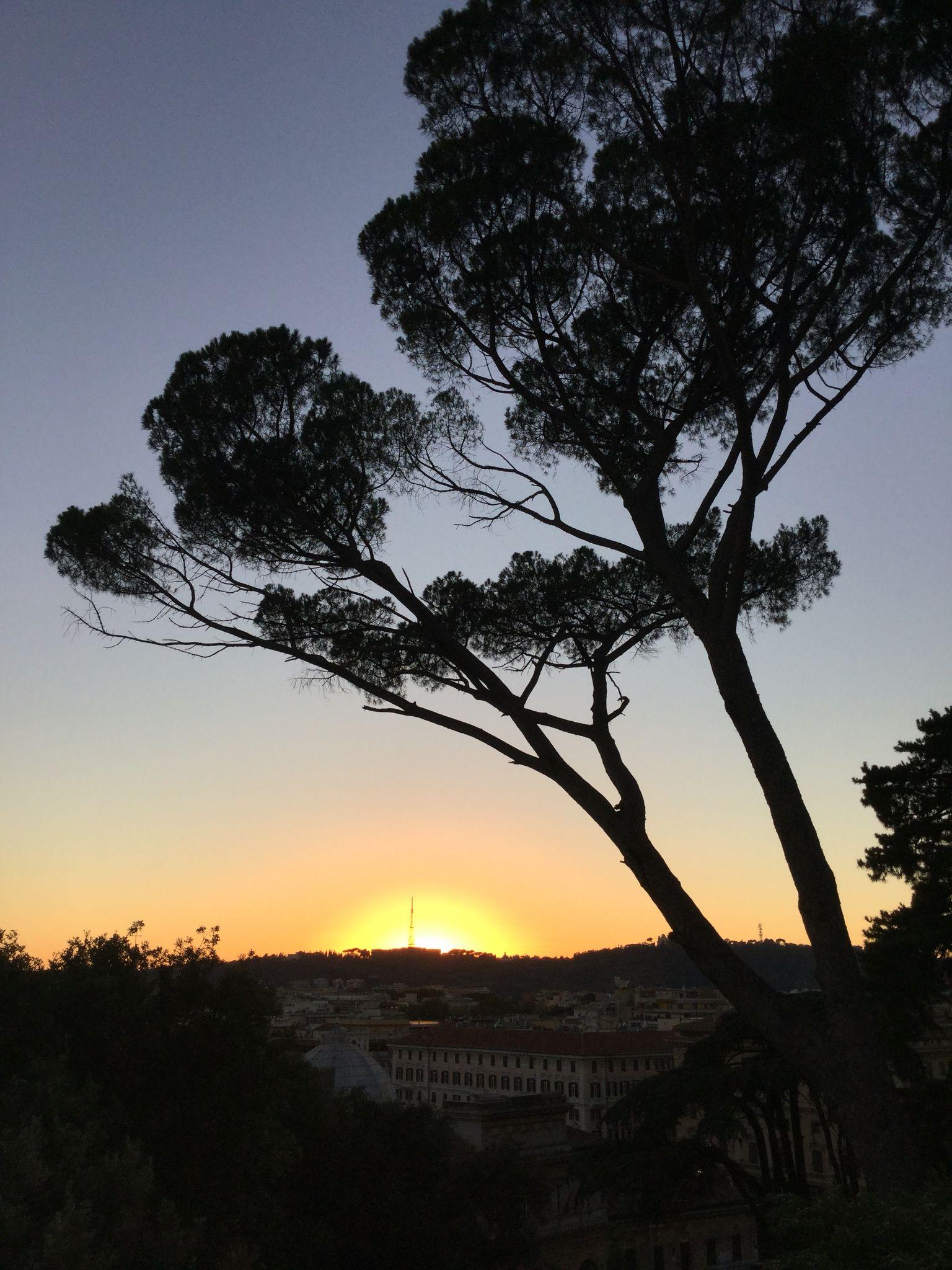 Terrazza Del Pincio Tramonto A Roma Sunset Background