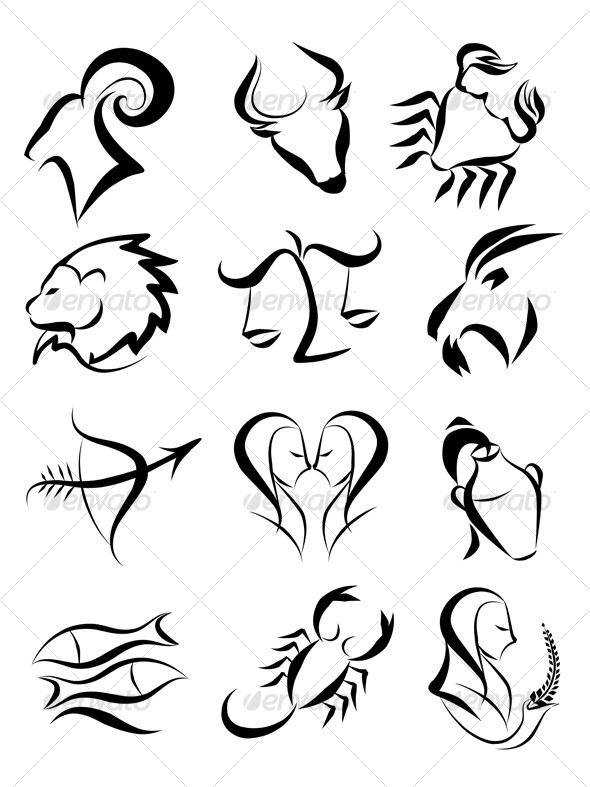 Zodiac Line Art : Zodiac signs symbols and tattoo