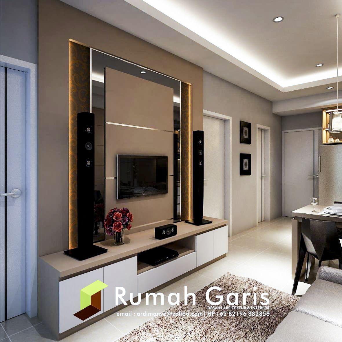 desain panel meja tv interior apartemen interior master