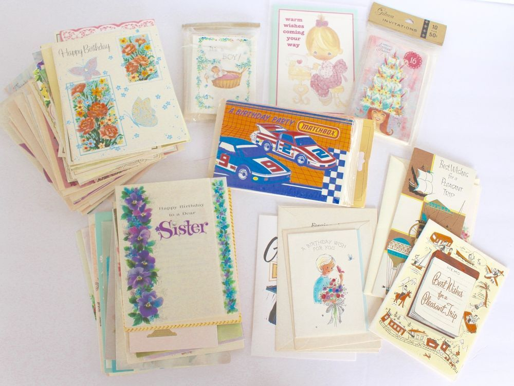 Vintage Greeting Cards Lot Used Unused Packaged Baby Birthday Matchbox