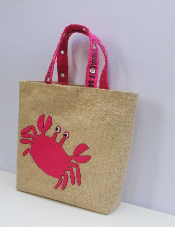 Pink crab handmade summer jute tote bag, artistic, hand embroidered beach bag, boho style diaper bag