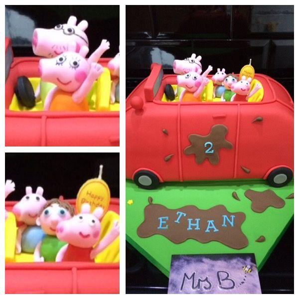 Peppa Pig Carved Car Cake With All The Pig Family And The Birthday