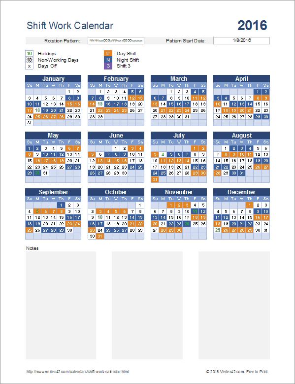 Download the Shift Work Calendar from Vertex42.com   Work ...