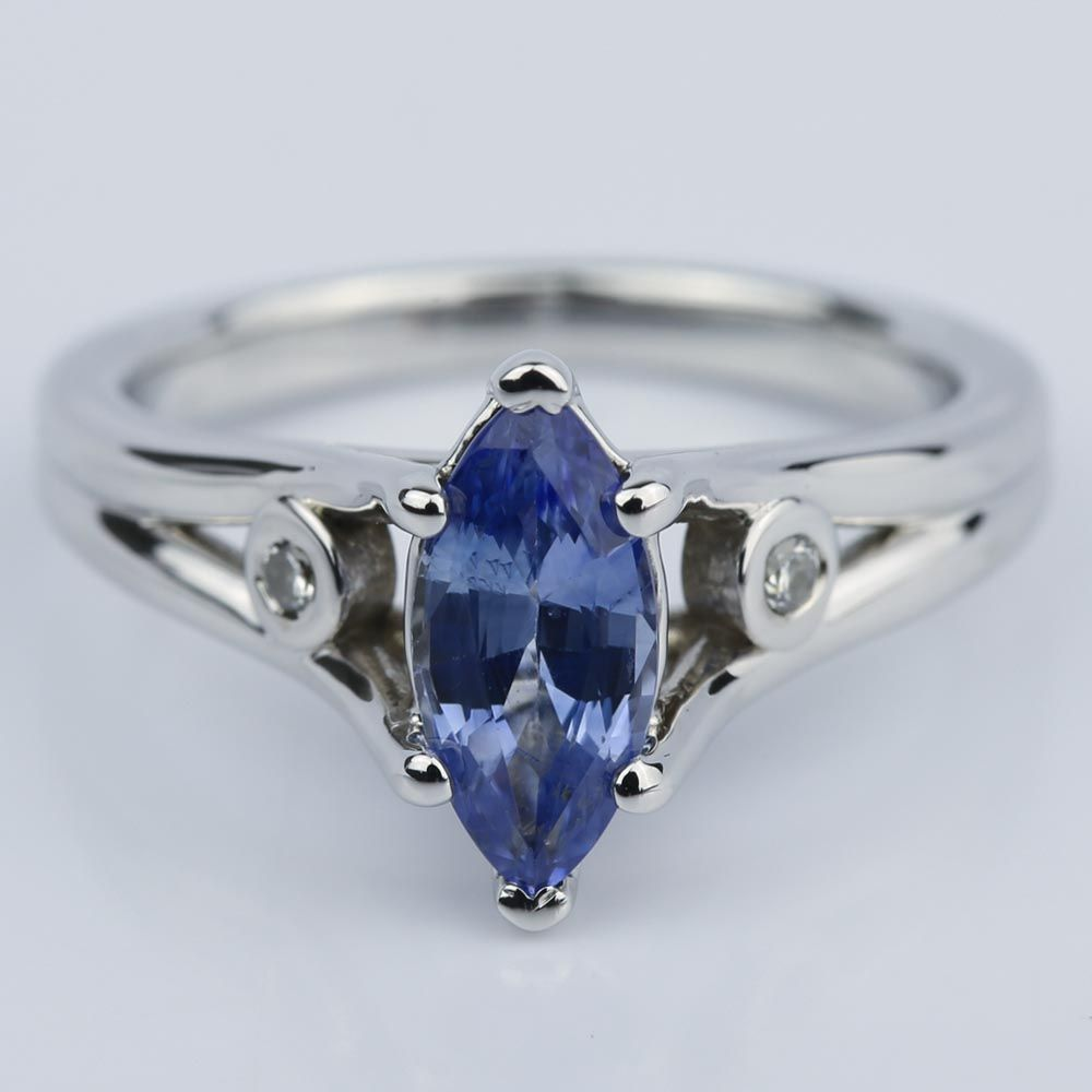 Marquise Sapphire Engagement Ring With Diamond Accents Colored Engagement Rings Small Engagement Rings Engagement Rings