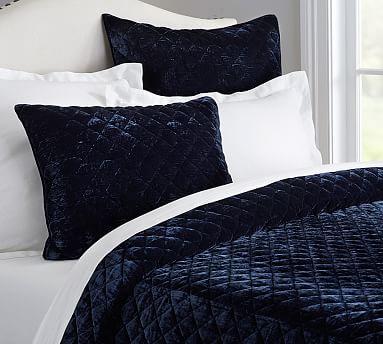 Nia Velvet Diamond Quilt And Sham Full Queen Navy Velvet Comforter Bed Linen Design Bed Linens Luxury