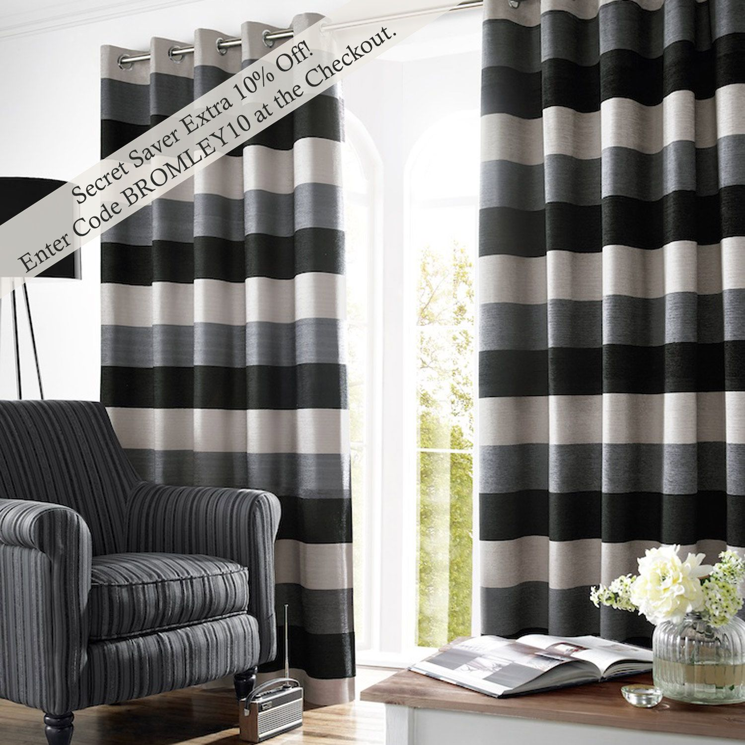 Black And Grey Bedding And Curtains Bromley Stripe Lined Eyelet Curtains Slate Curtains