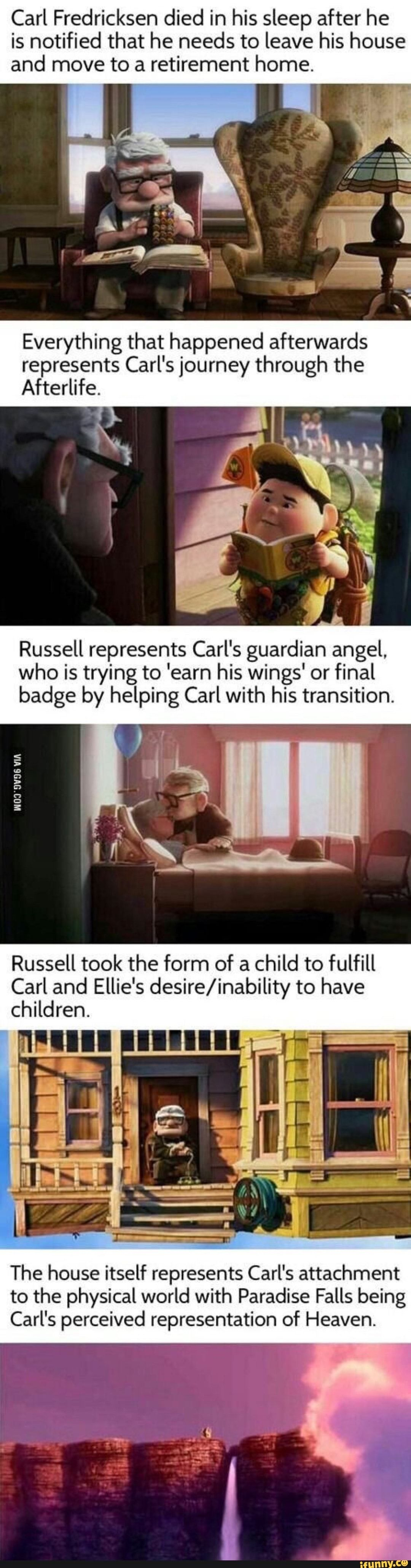 Carl Fredricksen died in his sleep after he is notified that he needs to leave his house and move to a retirement home. Everything that happened afterwards represents Carl's journey through the Afterlife. Russell represents Carl's guardian angel, who is trying to 'earn his wings' or fin... #fantasy #artcreative #carl #fredricksen #died #sleep #notified #needs #leave #house #move #retirement #home #everything #happened #afterwards #represents #carls #afterlife #russell #guardian #angel #pic
