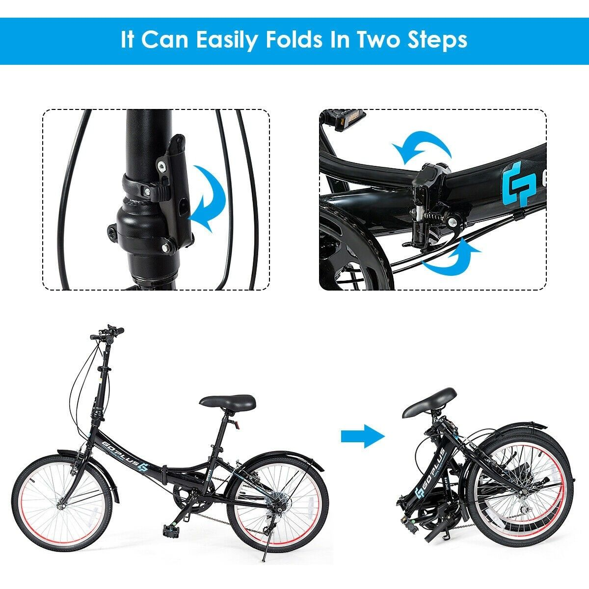 20 Lightweight Adult Folding Bicycle Bike With 7 Speed Drivetrain