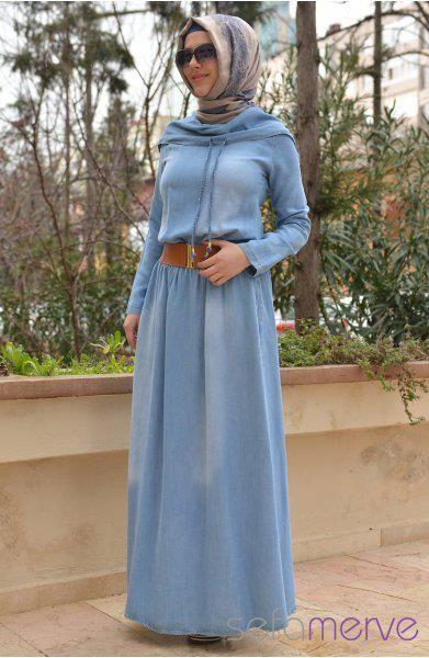 Kemerli Tesettur Kot Elbise Modelleri Elbise Modelleri Ve Fiyatlari Islami Moda Basortusu Modasi Elbise Modelleri