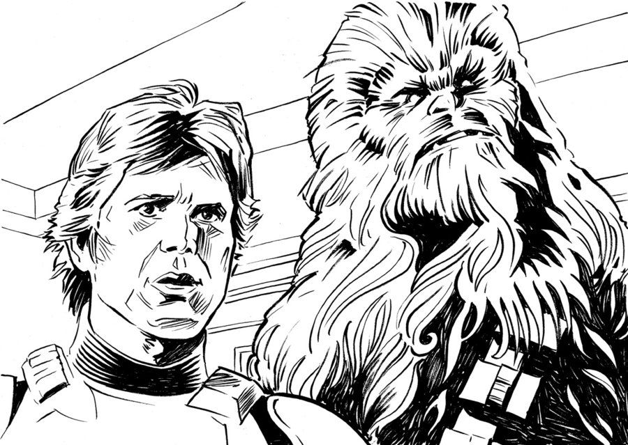 Han Chewie Ink Sketch By Mygrimmbrother Deviantart Com On Deviantart Star Wars Drawings Star Wars Colors Han Solo And Chewbacca