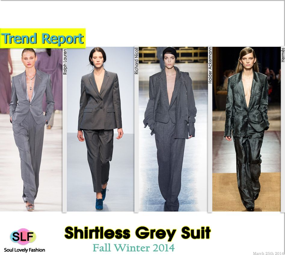 Shirtless Jacket Grey Pantsuit #Fashion Trend for Fall Winter 2014 #FW2014 #Fall2014Trends