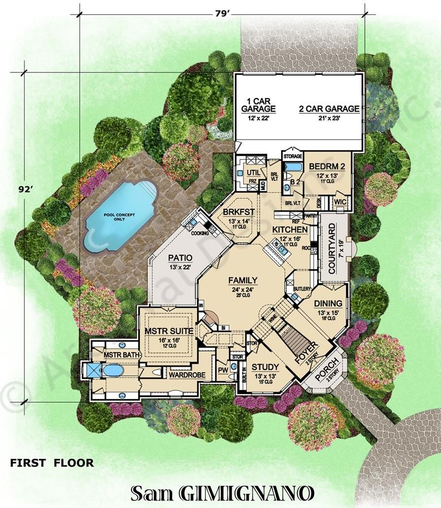San Gimignano House Plan How To Plan Luxury Floor Plans Mediterranean House Plan