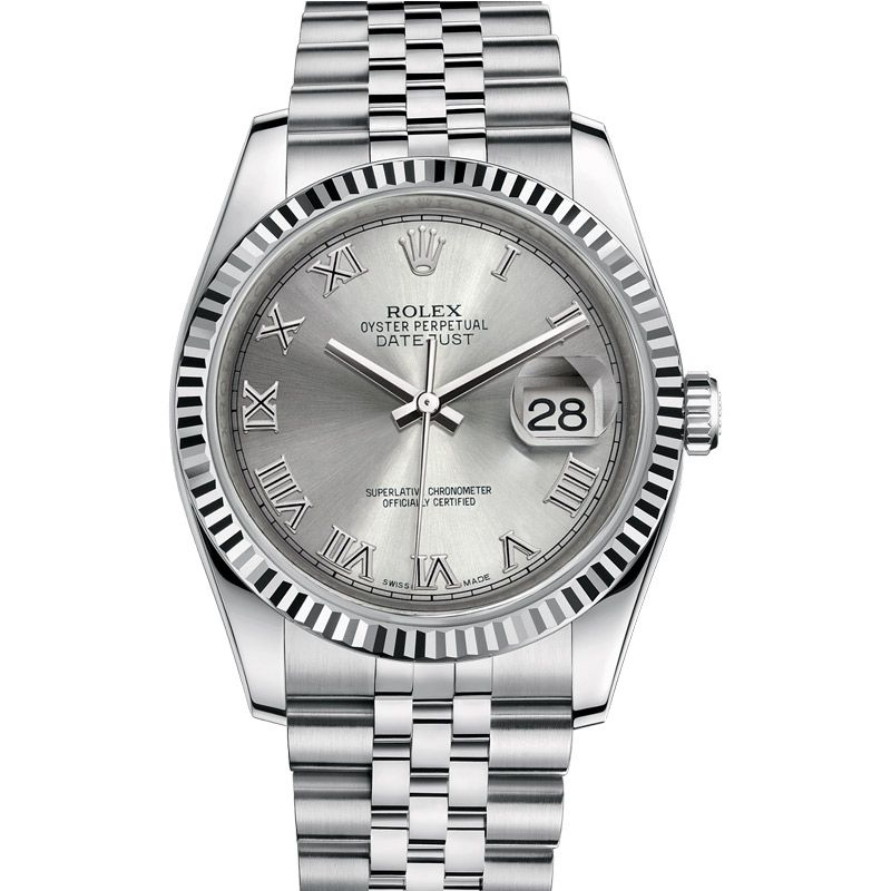 Men S 36 Mm Rolex Oyster Perpetual Datejust With Rhodium Dial Rolex Rolex Datejust Datejust