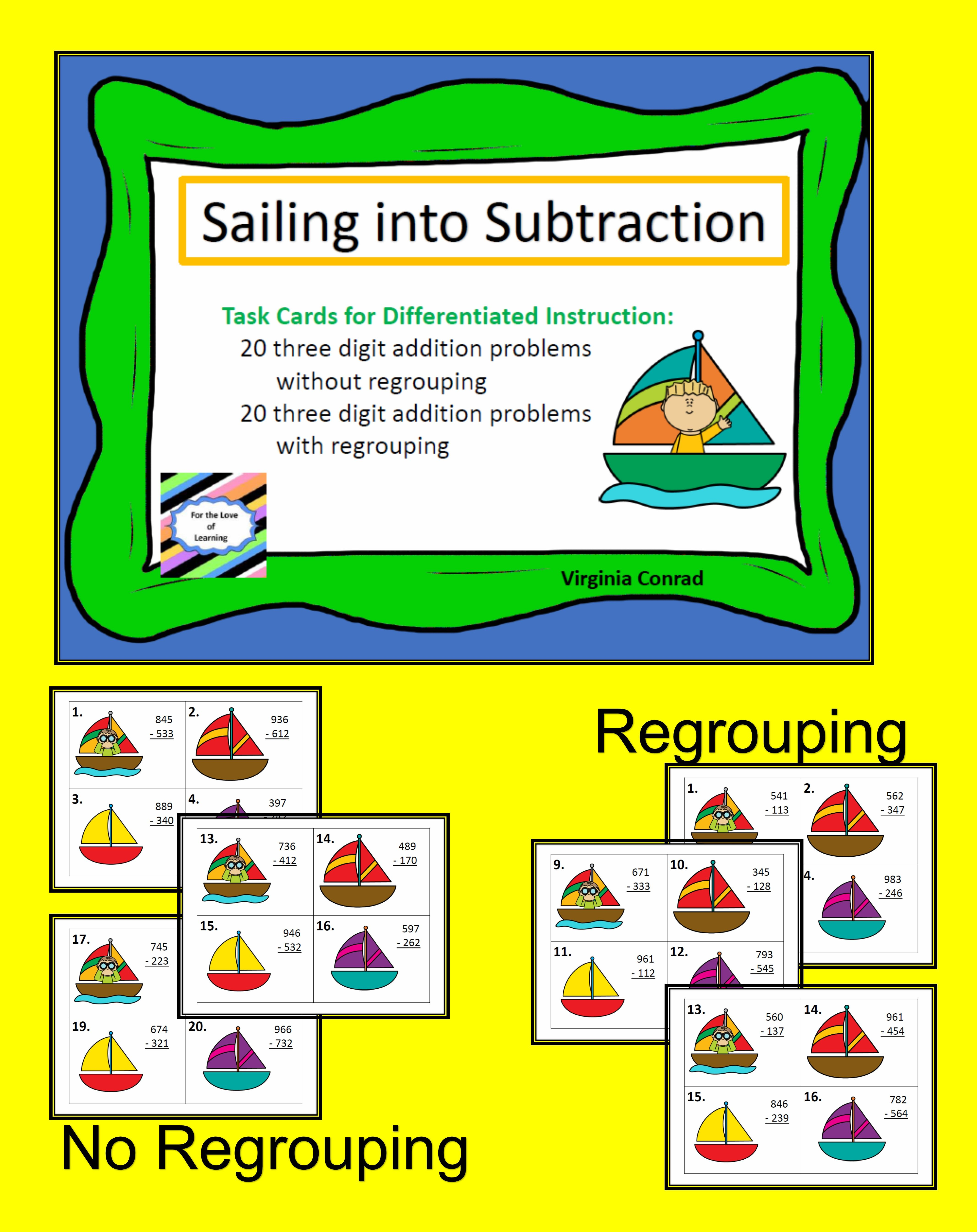 Sail Into Subtraction With These 2 Sets Of Task Cards