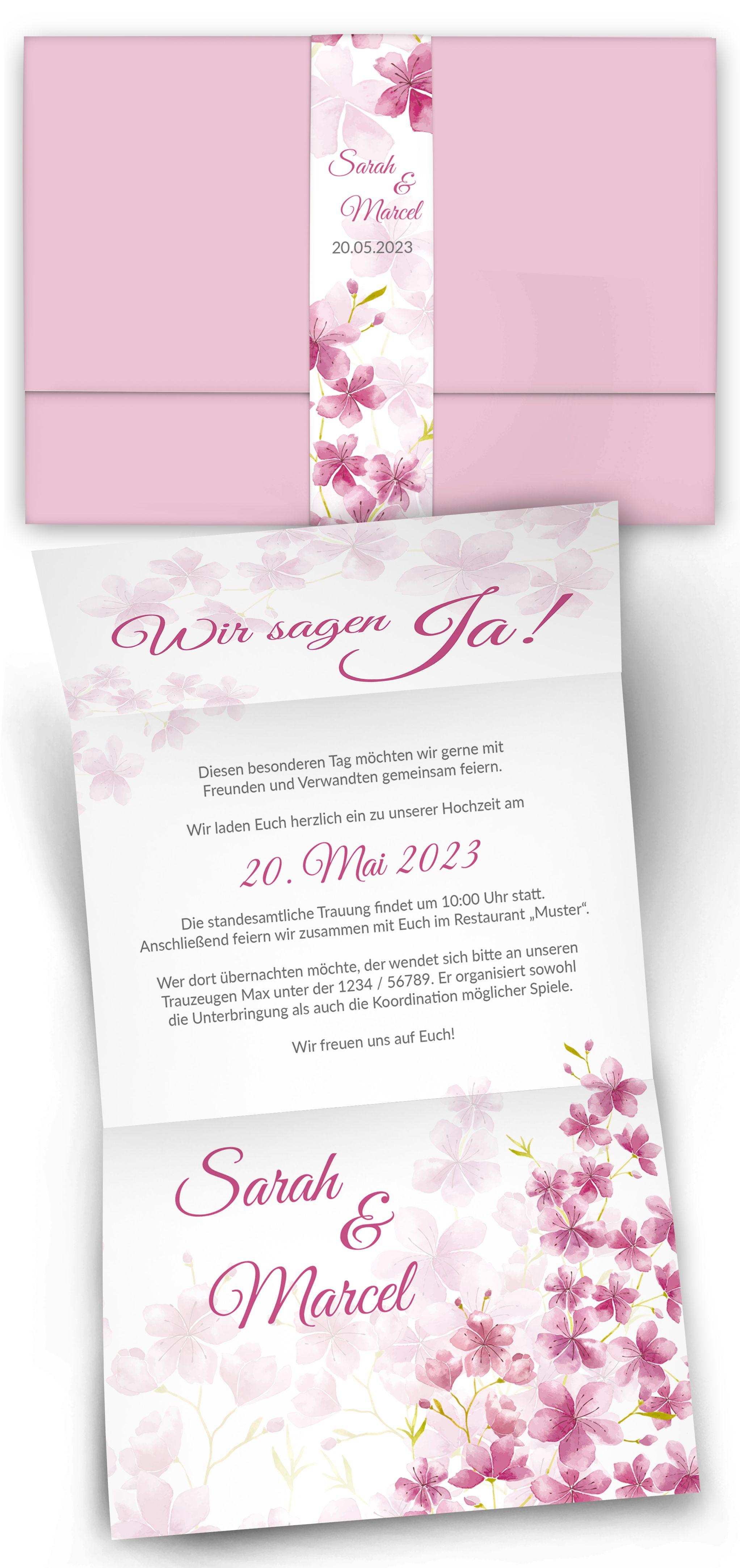 Entdecken Sie Das Besondere Format Mit Banderole Das Elegante Kirschblutendesign Gibt Es In Zw Hochzeitseinladung Einladungen Hochzeit Einladung Hochzeit Text
