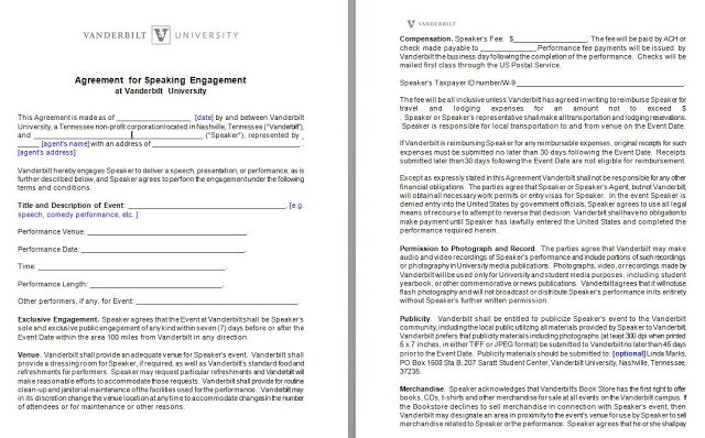 Speaker Engagement Contract - free sample example form - word and - agent contract template