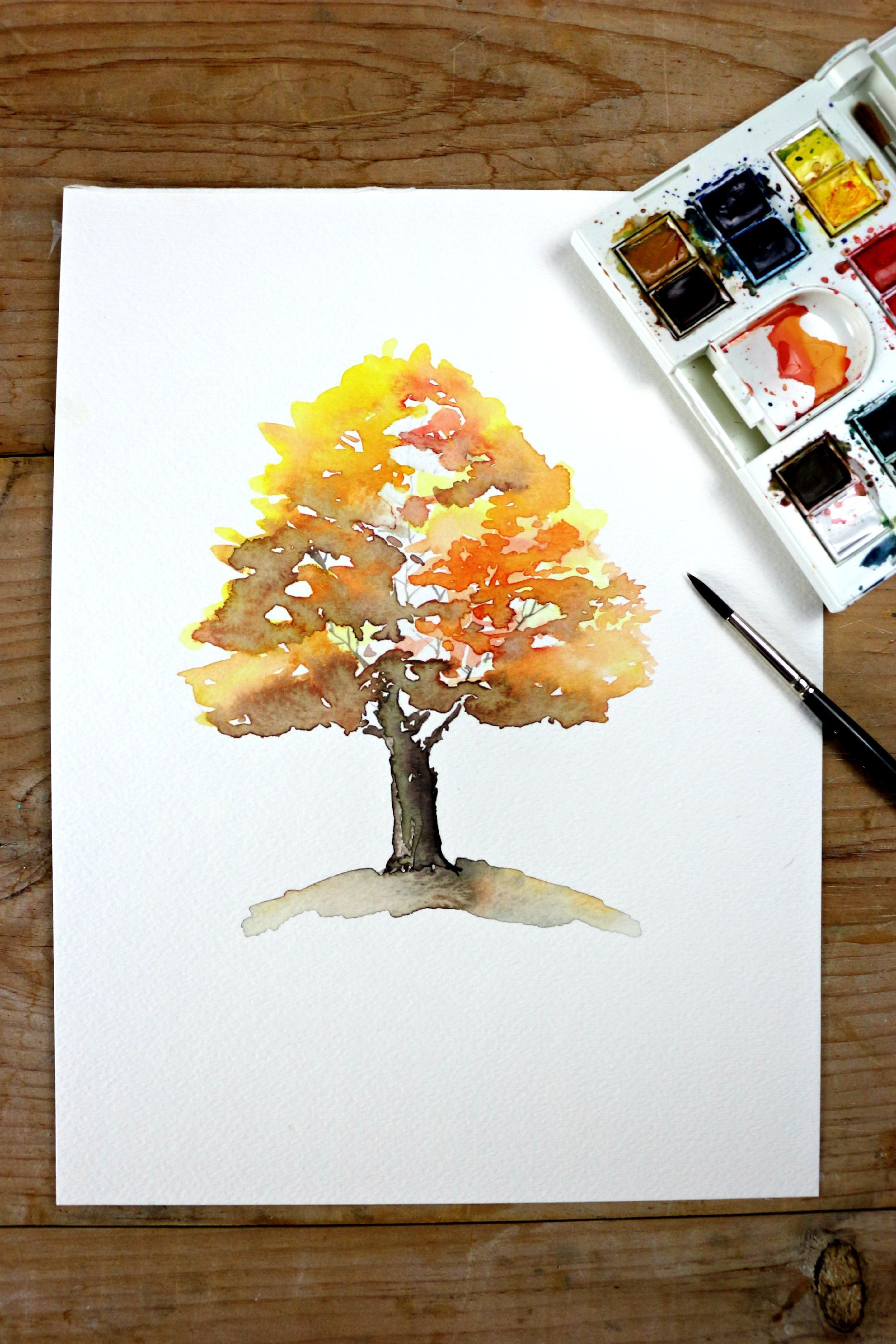 Easy Autumn Tree Watercolor Painting Watercolor Landscape
