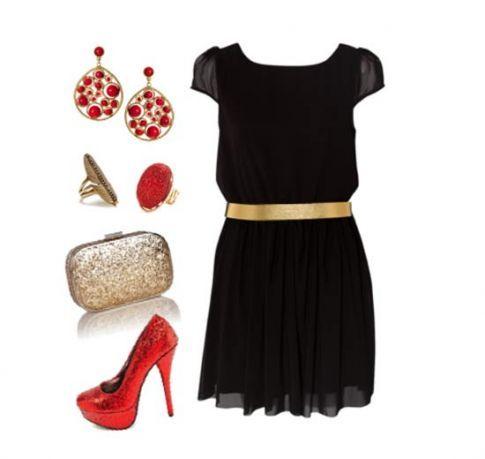 Combinar vestido negro corto boda