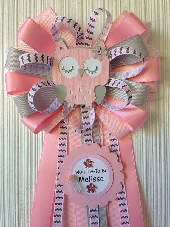 Pin By Adriana Hair Bows On Baby Shower Baby Shower Corsage Owl