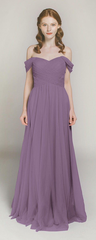 Long Off Shoulder Tulle Bridesmaid Dress TBQP328 | Gray bridesmaids ...