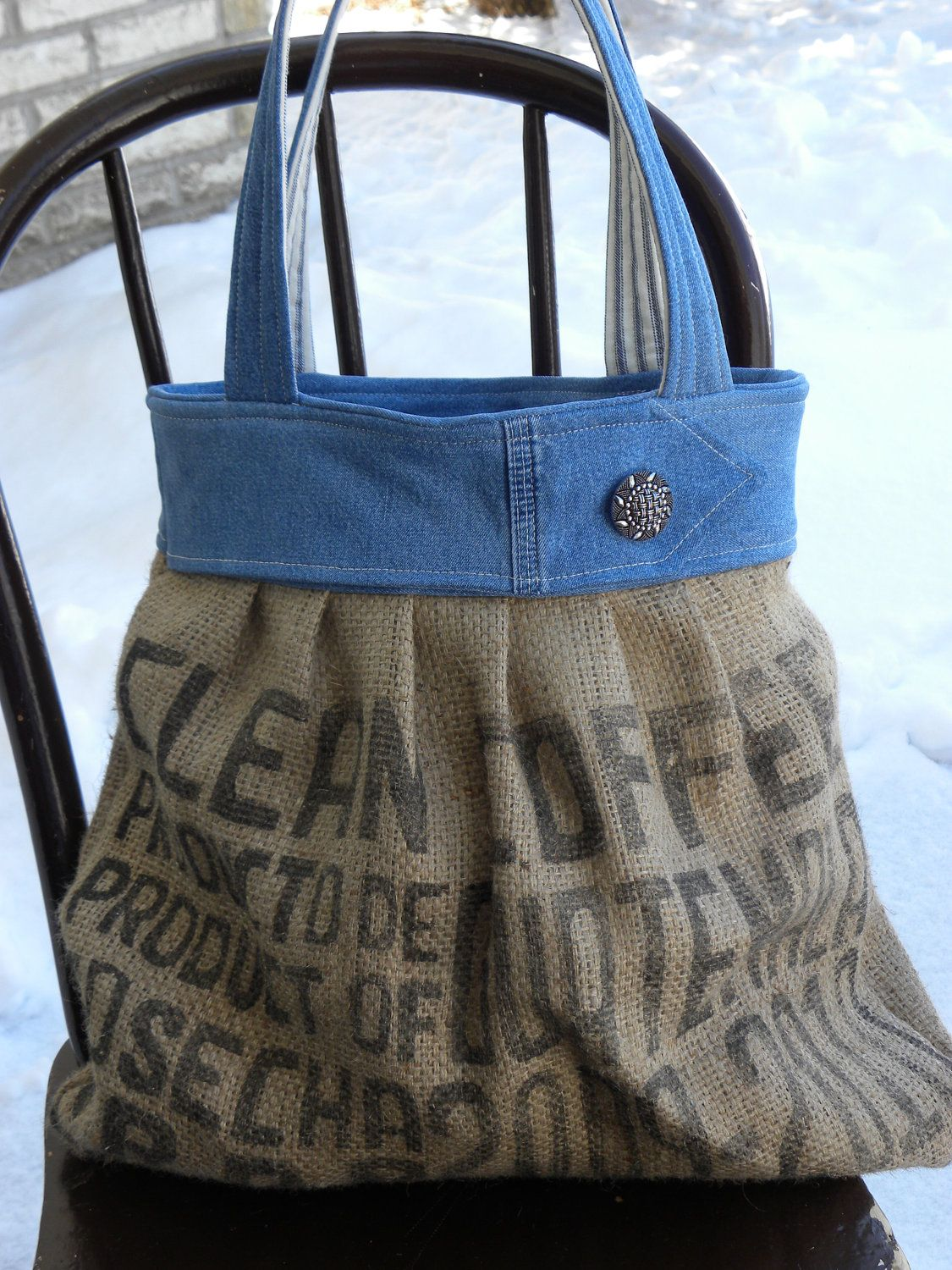 Burlap and Denim Bag - another great idea!! I have plenty of old jeans I could so do this!