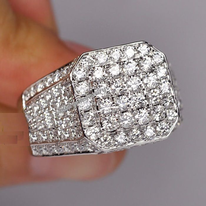 Diamond Pinky Ring Designer Mens 10k White Gold Square Statement Band 1 53 Ct Pinky Ring Ring Designs Diamond