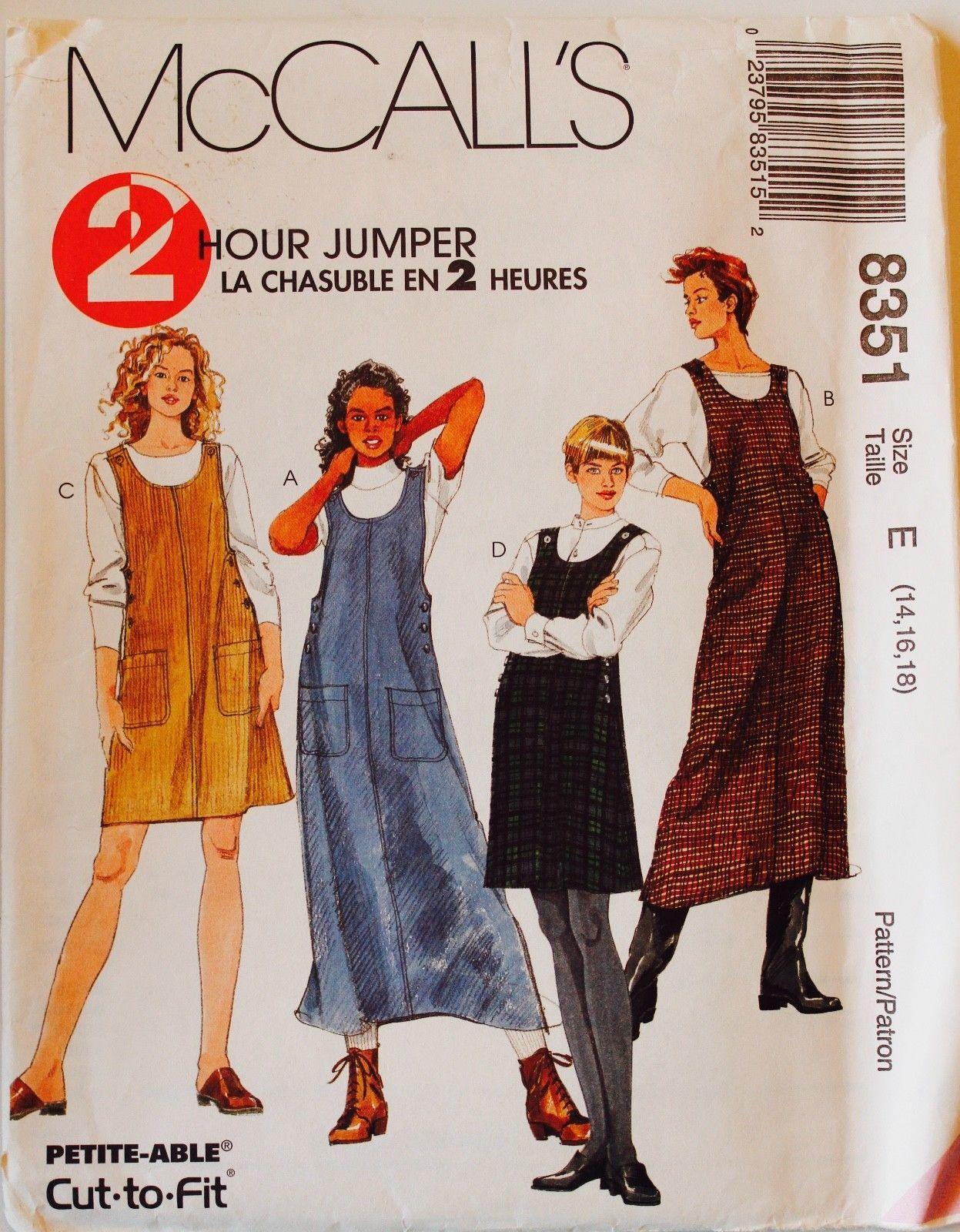 Bib Jumper Dress Top Sewing Pattern 8961 UC FF Size 12 14 16 Sleeveless