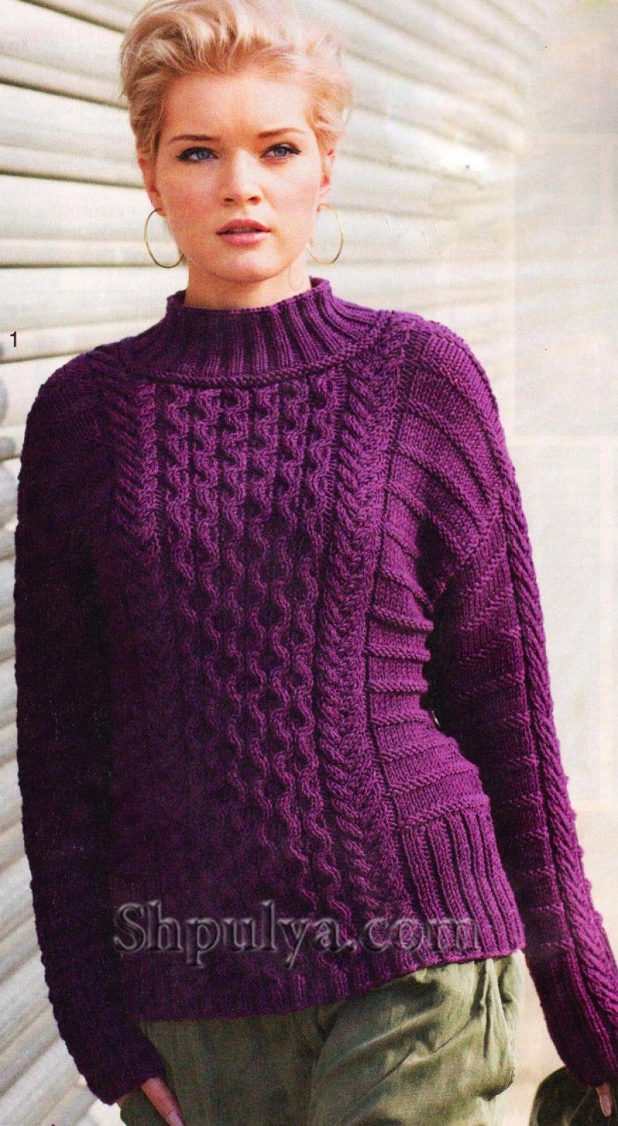 Фиолетовый пуловер с косами. Описание, схемы вязания