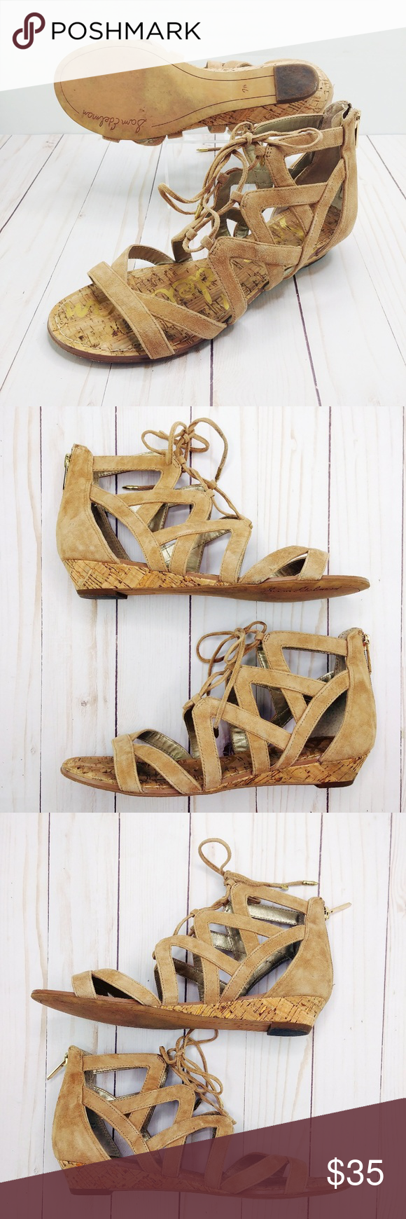Sam Edelman | Dawson Lace-up Cork Wedge Sandal Sam Edelman Dawson lace-up leather cork wedge sandals in women's size 7.5. Heel approximately 1. Crisscrossed ghillie laces bridge the open top of a breezy sandal set on a low cork wedge. Excellent condition, very little wear, super clean. Offers welcome! Sam Edelman Shoes Sandals #lowwedgesandals