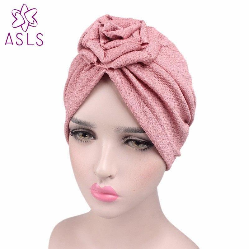 49b47cc74d8 New fashion Women Elegant rose flower turban beanie chemo cap Ladies hair  cap for W