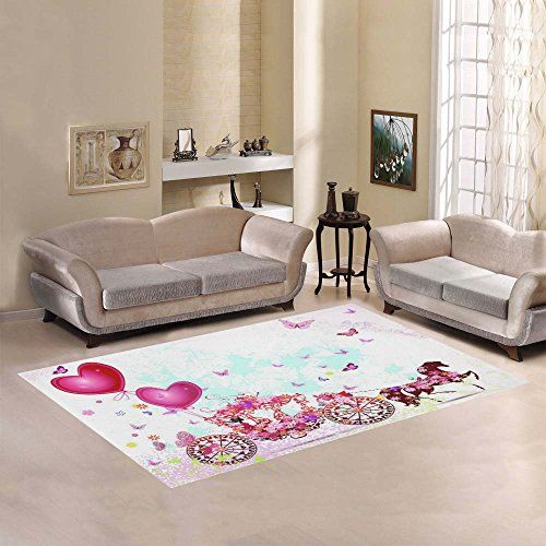 InterestPrint Home Decoration Pink Girl in a Carriage Area Rug 7 x