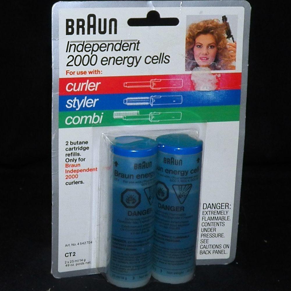 2 Refills Braun Independent 2000 Energy Cells Butane Curling Irons Curler Ct2 Braun Butane Refill Braun