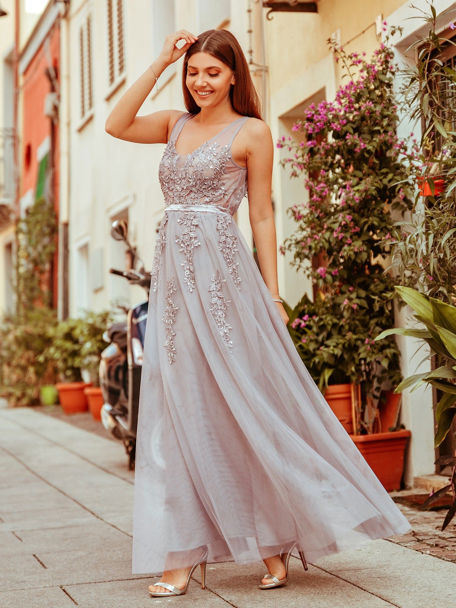 8507d3d33bc Gray Tulle Long Ethereal Evening Dress in 2019
